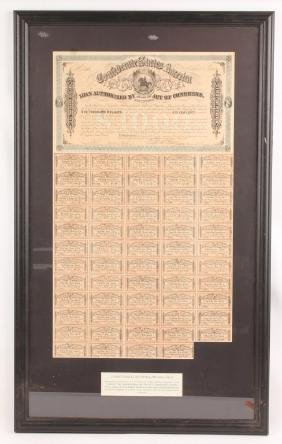 FRAMED CONFEDERATE CIVIL WAR BOND 1861-1865