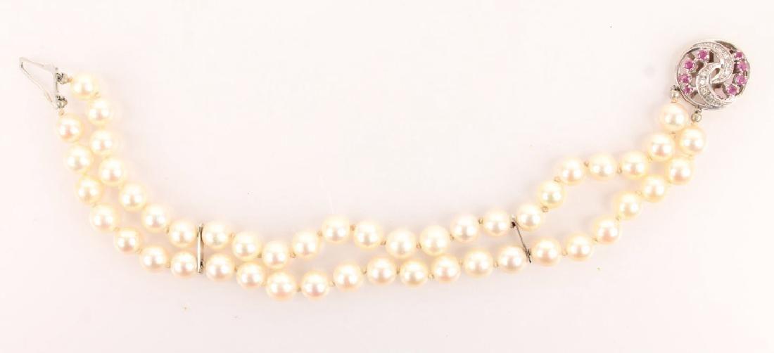 LADIES 14K WHITE GOLD DIAMOND RUBY PEARL BRACELET