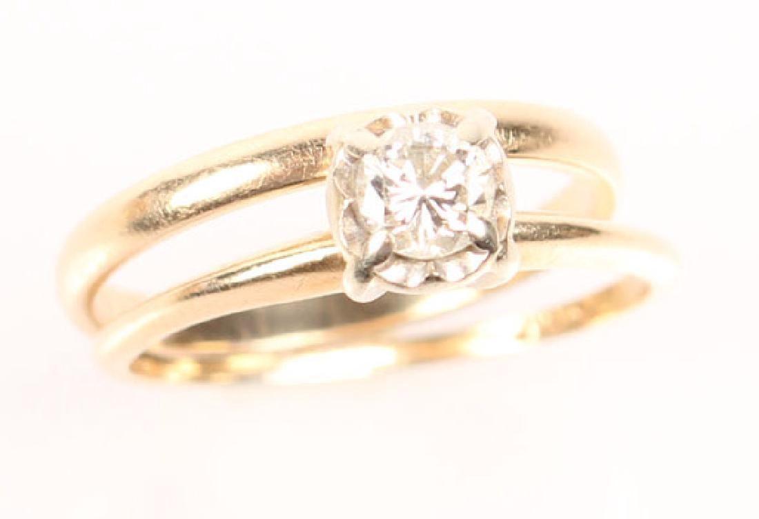 LADIES 14K YELLOW GOLD DIAMOND RING WEDDING SET