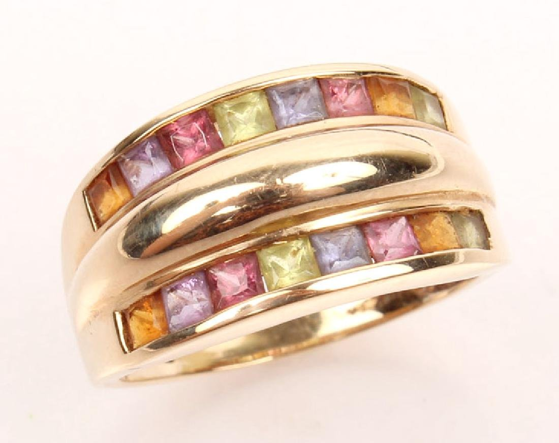 LADIES 14K YELLOW GOLD MULTISTONE FASHION RING