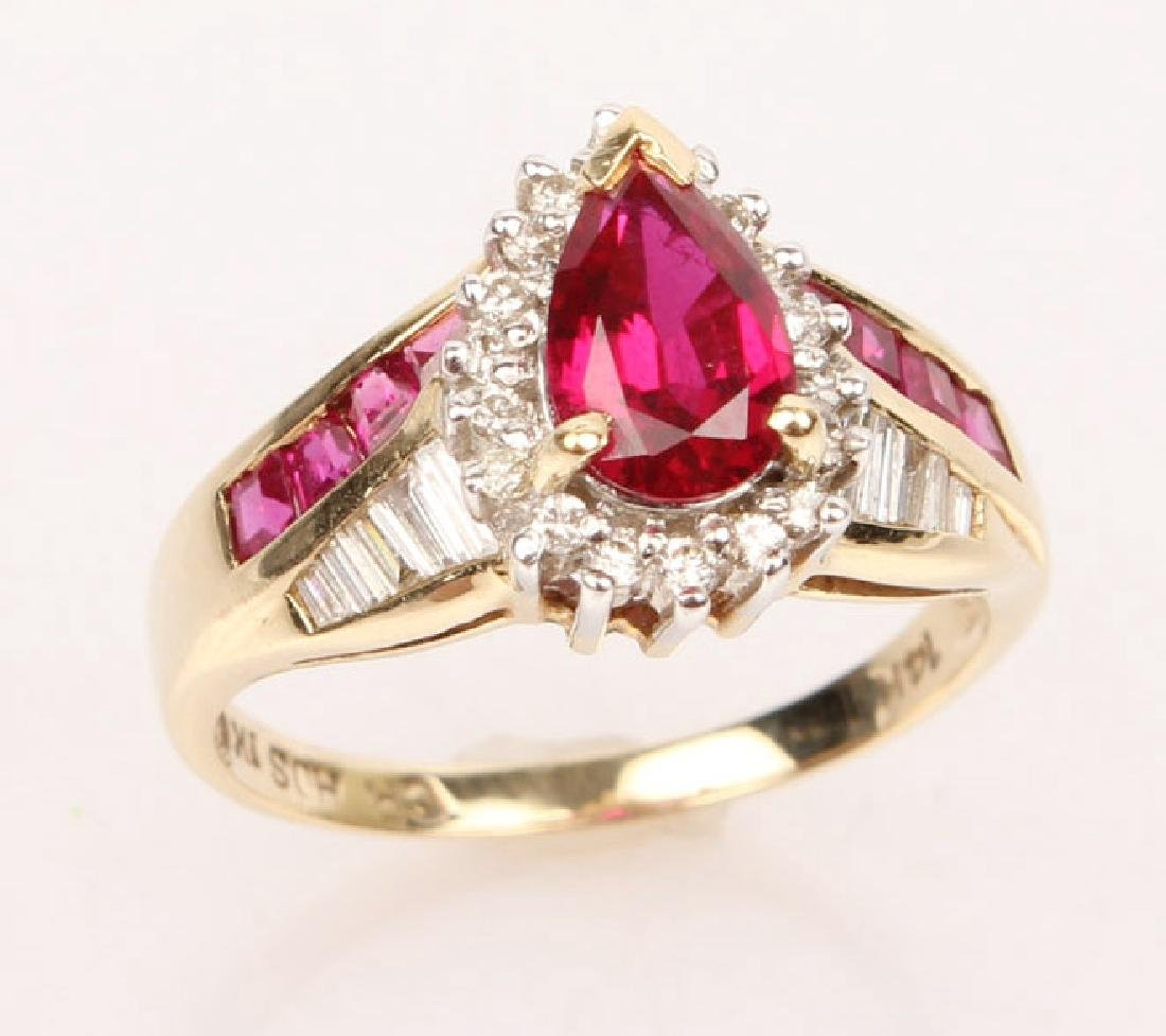 LADIES 14K YELLOW GOLD DIAMOND & RUBY RING