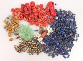 MIXED GROUPING OF JEWELRY BEADS CORAL JADE ETC.