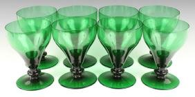8 PC GREEN GLASS GOBLETS