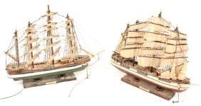 2 WOODEN MODEL SHIPS