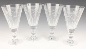 4 ETCHED GLASS FLORAL MOTIF GOBLETS