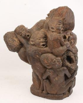 LARGE AFRICAN CARVED WOOD CHILDREN STATUE