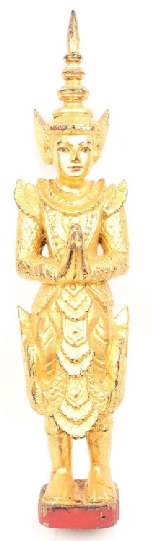 GOLD PAINTED WOODEN THAI STATUE