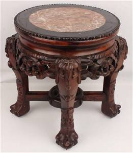 CARVED WOOD & MARBLE TOP STOOL