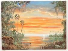 MARK MAZZARELLA FLORIDA LANDSCAPES OIL ON CANVAS