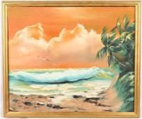 OTEE ADAMS FLORIDA OCEAN SUNSET SCENE OIL ON BOARD