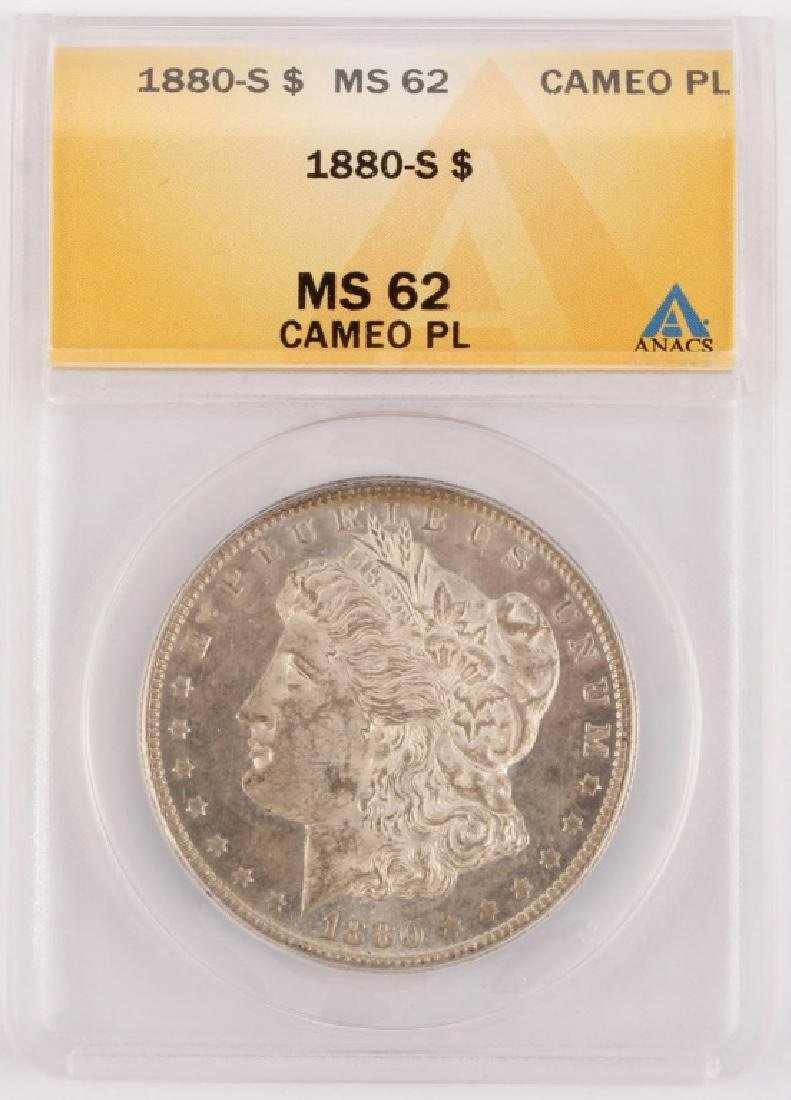 1880 SAN FRANCISCO MORGAN SILVER DOLLAR ANACS MS62
