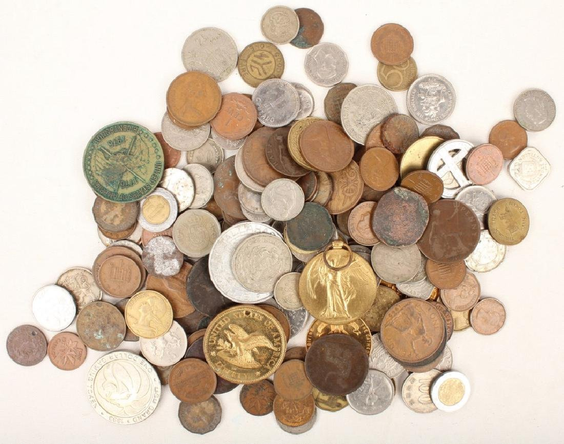 1.90 LBS OF MIXED WORLD COINS & TOKENS
