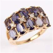 LADIES 14K YELLOW GOLD OVAL SAPPHIRE DIAMOND RING