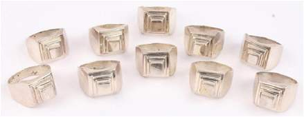 10 MEN'S MEXICAN TAXCO STERLING SILVER RINGS