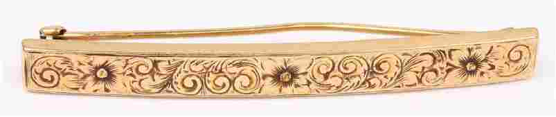 LADIES 14K YELLOW GOLD ENGRAVED BROOCH