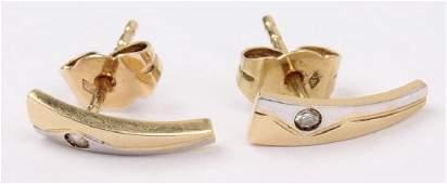14K YELLOW GOLD FREE FORM DIAMOND EARRINGS