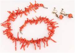 LADIES RED BRANCH CORAL NECKLACE AND EARRINGS