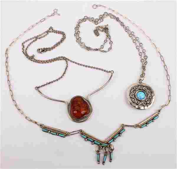 3 STERLING SILVER NECKLACES TURQUOISE OPAL AMBER