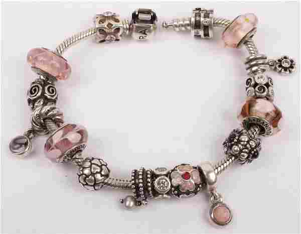 STERLING SILVER PANDORA BRACELET WITH CHARMS
