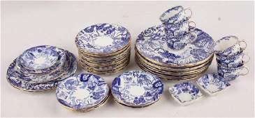 38 PC ROYAL CROWN DERBY BLUE MIKADO DINNER SET