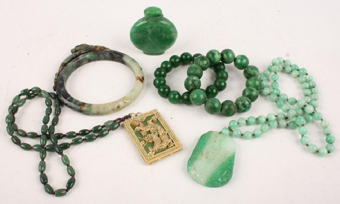 CHINESE CARVED JADE ITEMS JEWELRY