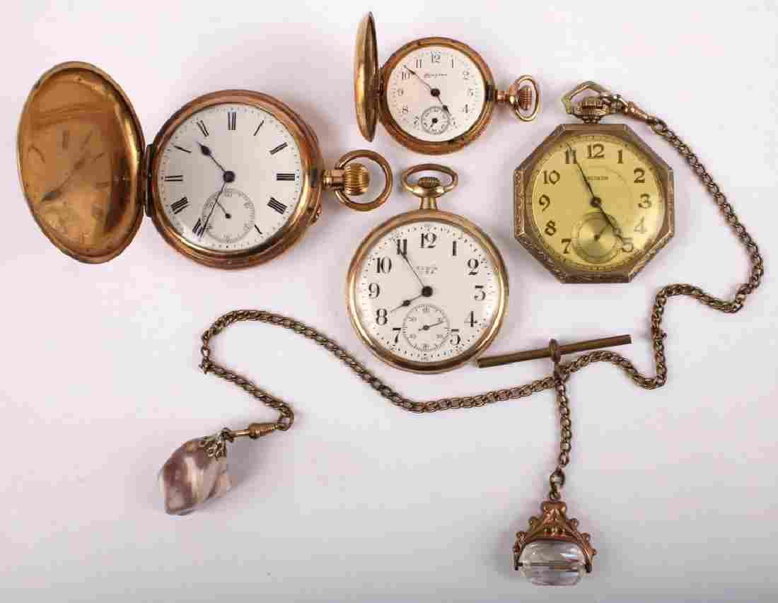 4 GOLD FILLED POCKET WATCHES WALTHAM ELGIN HAMPDEN
