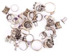 MIXED STERLING SILVER FASHION RINGS