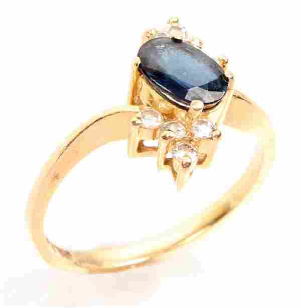 LADIES 14K YELLOW GOLD DIAMOND & SAPPHIRE RING