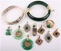 CHINESE JADE STONE COSTUME JEWELRY