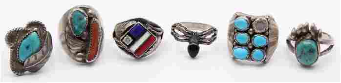 6 MENS STERLING SILVER RINGS SIGNED BY THE ARTISTS