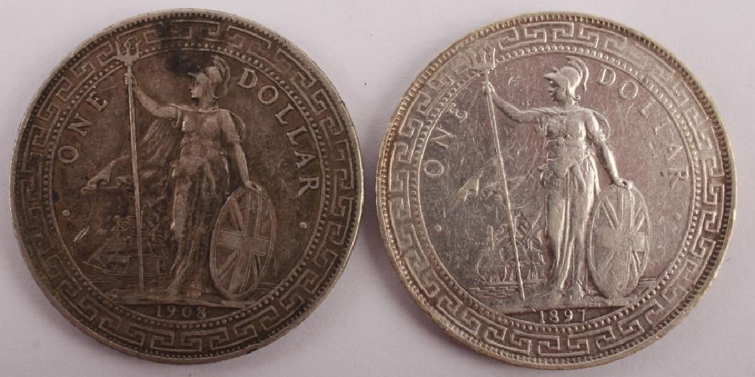 2 BRITISH TRADE SILVER ONE DOLLAR HONG KONG COINS