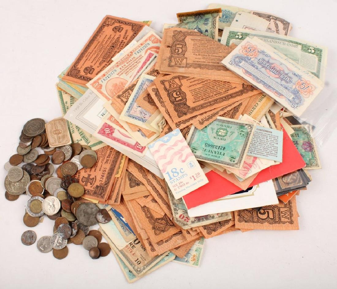 MIXED STAMPS COINS WORLD CURRENCY CERTIFICATES ETC