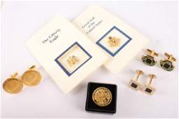 MIXED GOLD PLATED CUFFLINKS AND PINS