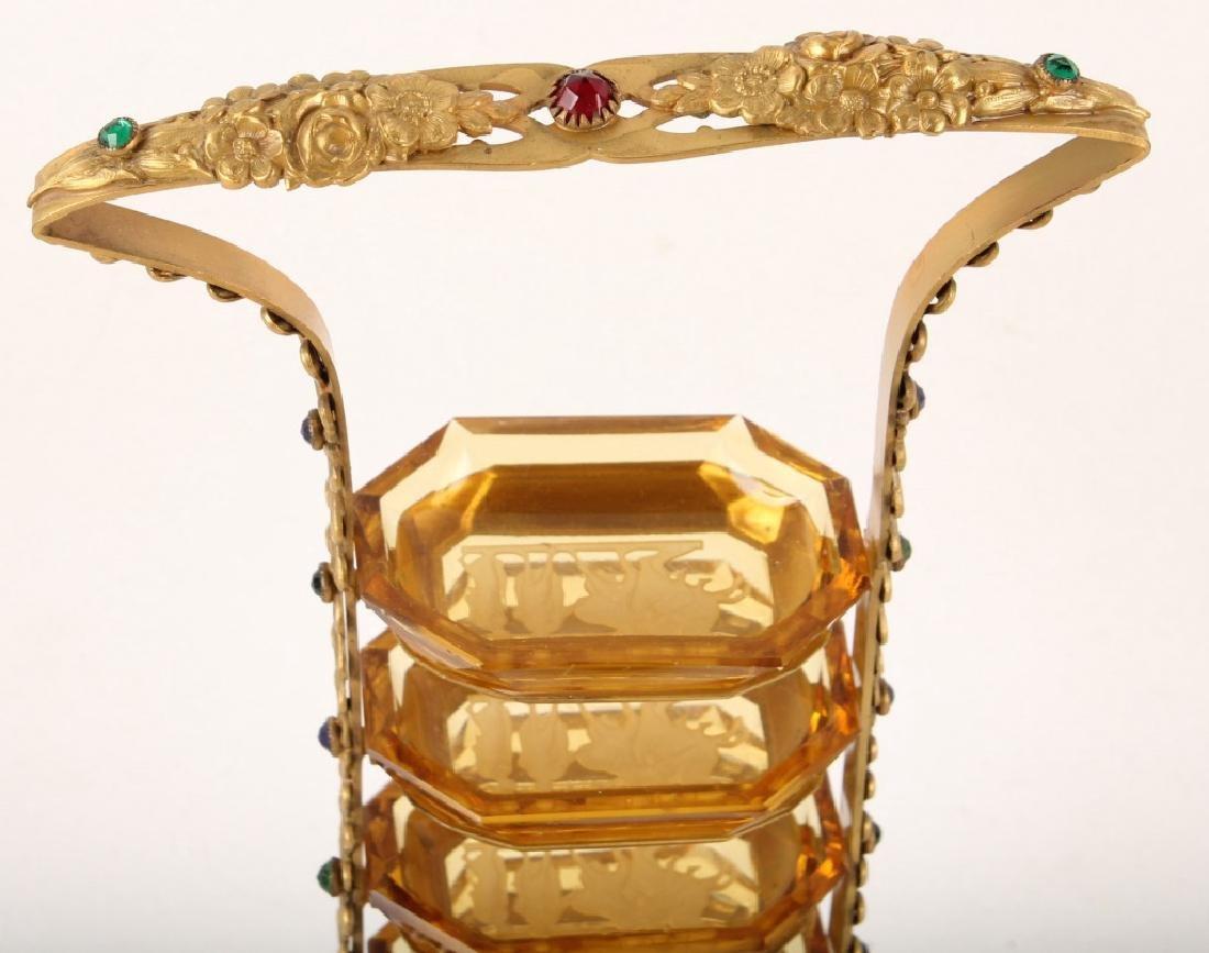 6 TIER INTAGLIO GLASS MASTER SALT CELLAR W STAND - 2
