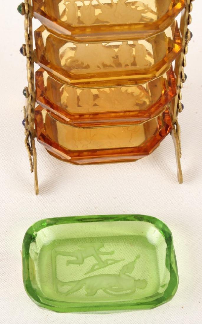 6 TIER INTAGLIO GLASS MASTER SALT CELLAR W STAND - 3