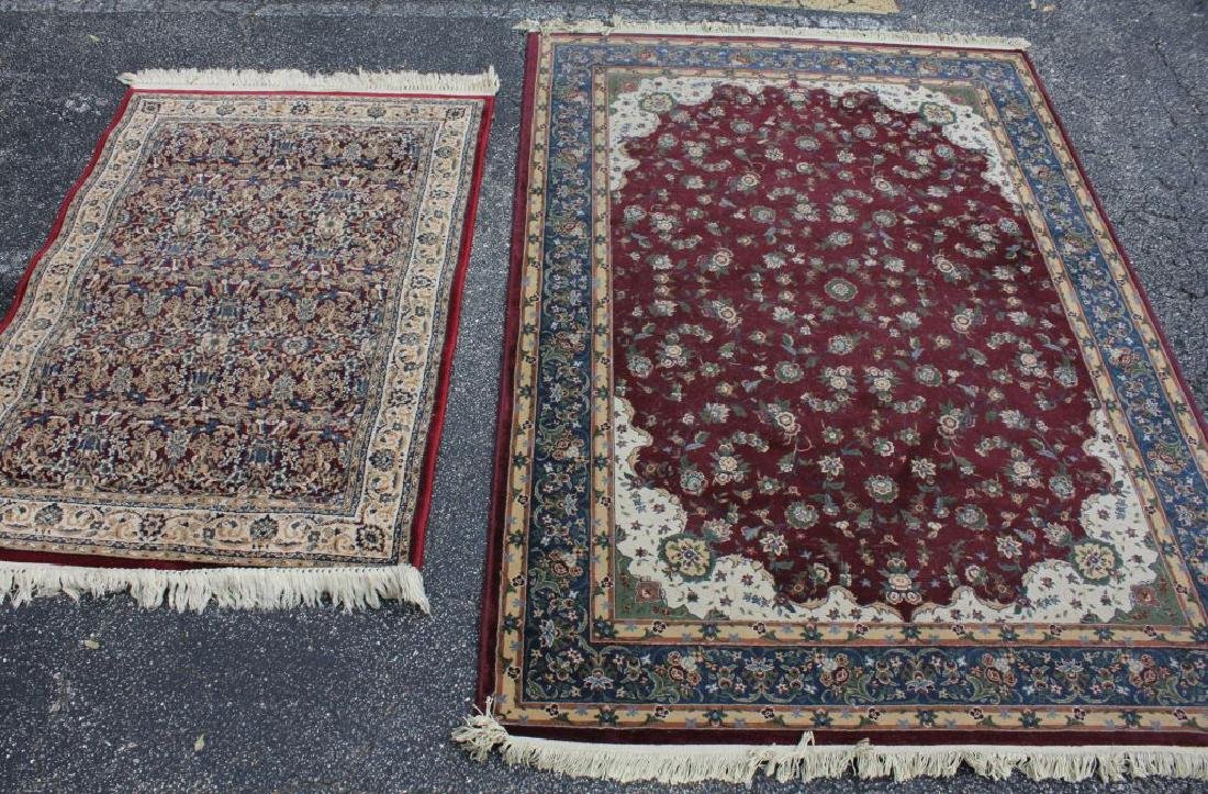 LOT OF 2 MODERN FLORAL AREA RUGS