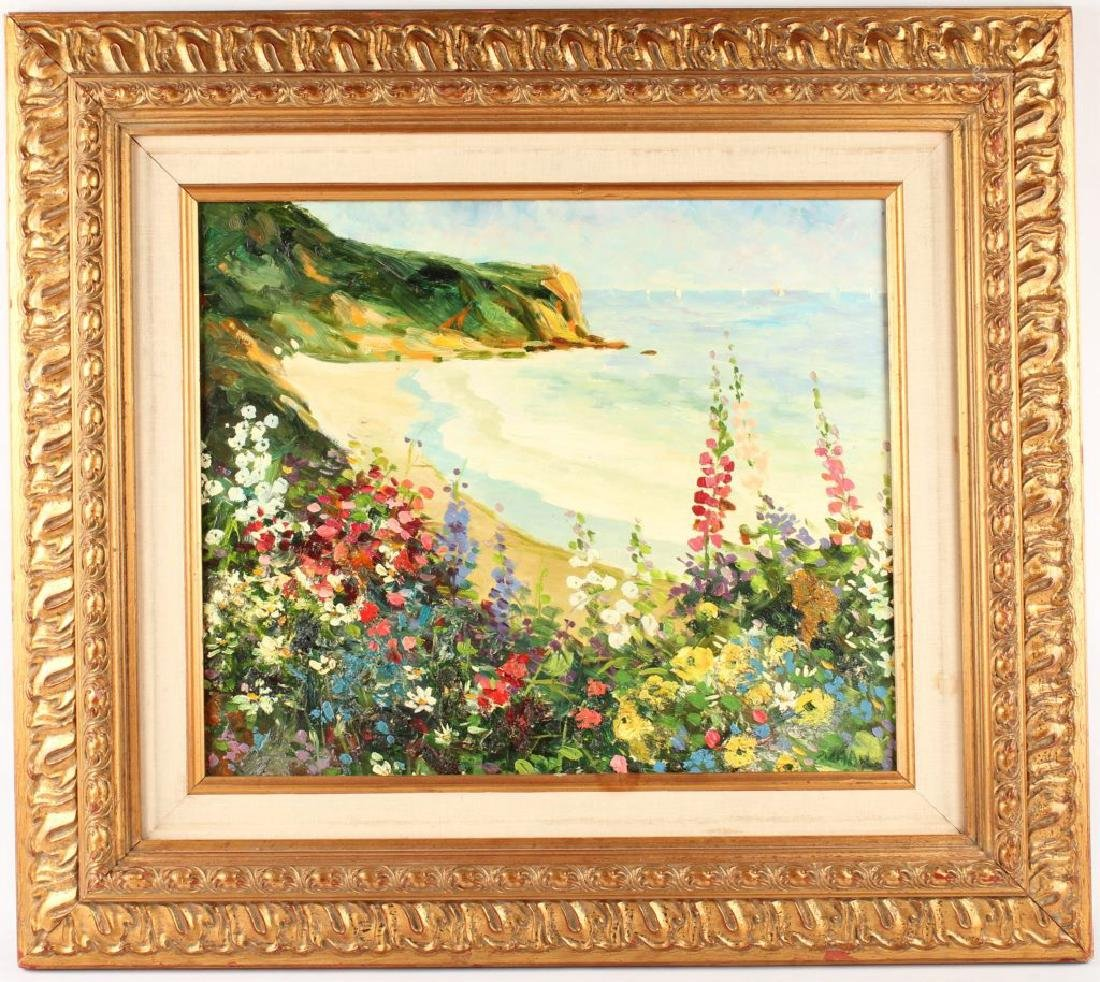 OIL ON CANVAS SEASCAPE WITH FLOWERS
