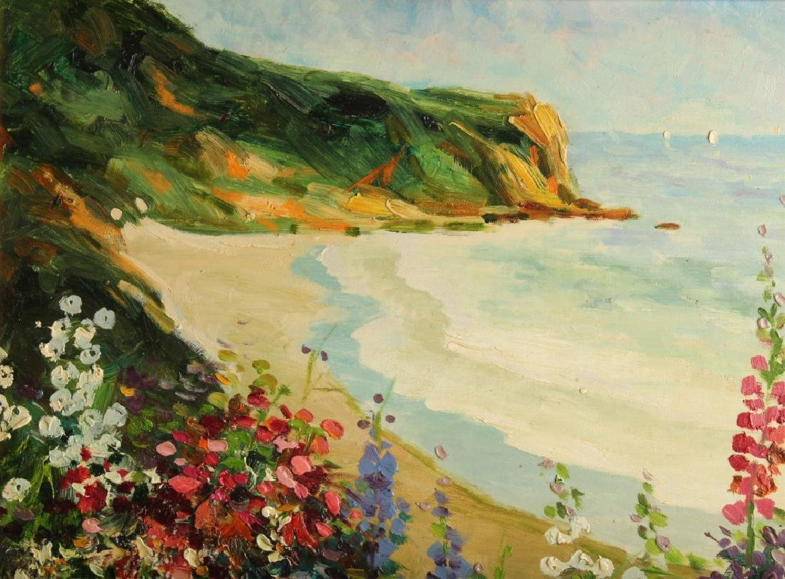 OIL ON CANVAS SEASCAPE WITH FLOWERS - 2