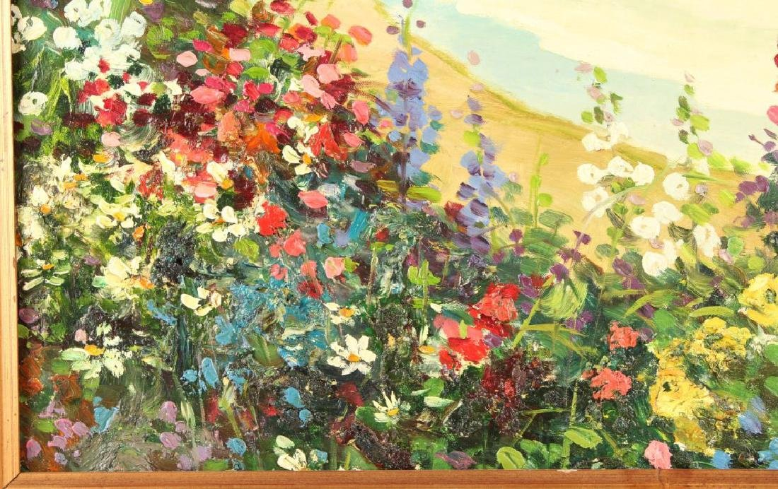 OIL ON CANVAS SEASCAPE WITH FLOWERS - 3