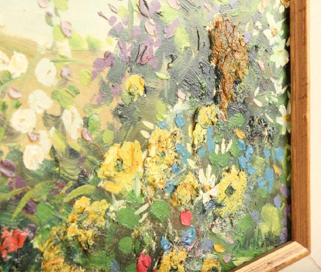 OIL ON CANVAS SEASCAPE WITH FLOWERS - 4
