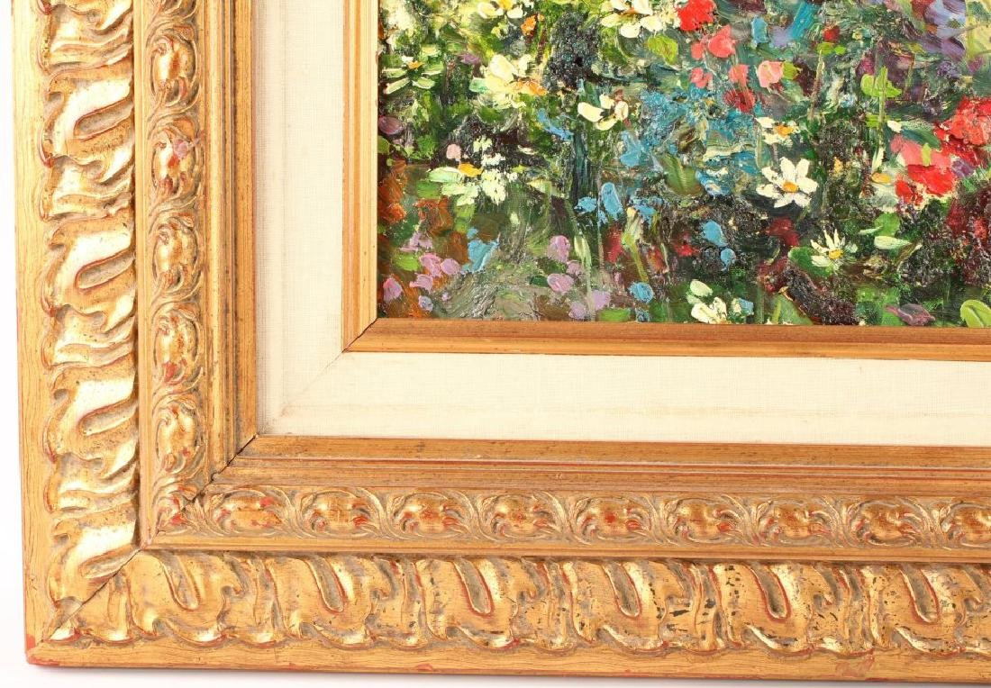OIL ON CANVAS SEASCAPE WITH FLOWERS - 5