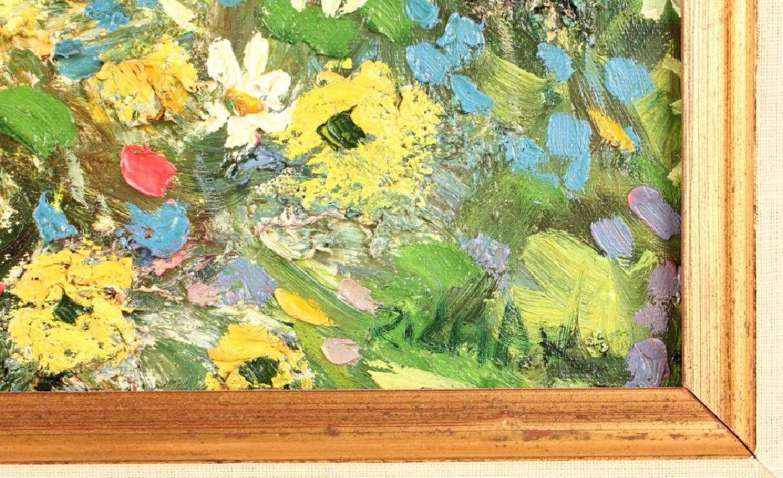 OIL ON CANVAS SEASCAPE WITH FLOWERS - 6