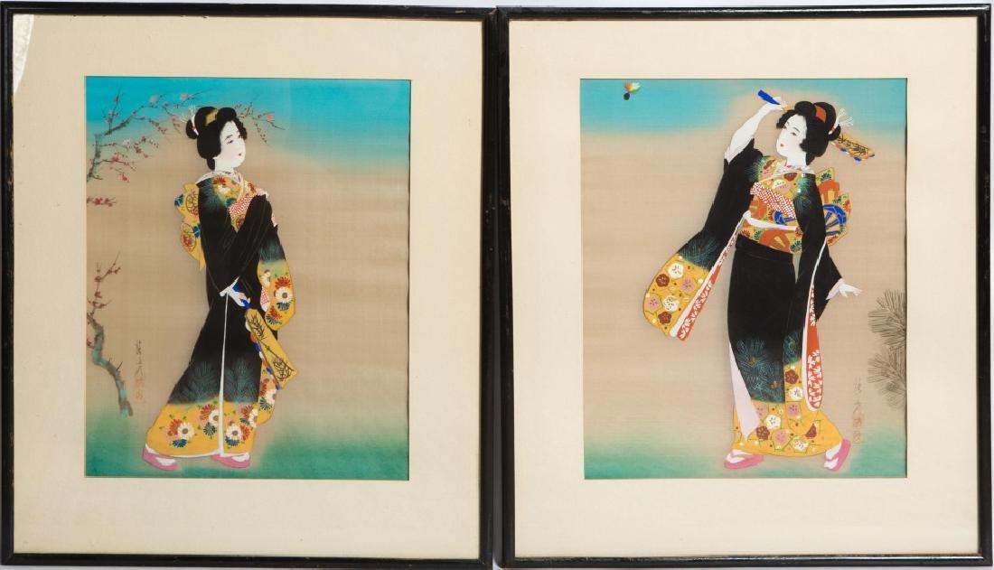 (2) JAPANESE GEISHA PAINTINGS ON SILK
