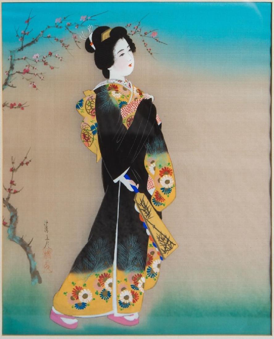 (2) JAPANESE GEISHA PAINTINGS ON SILK - 2