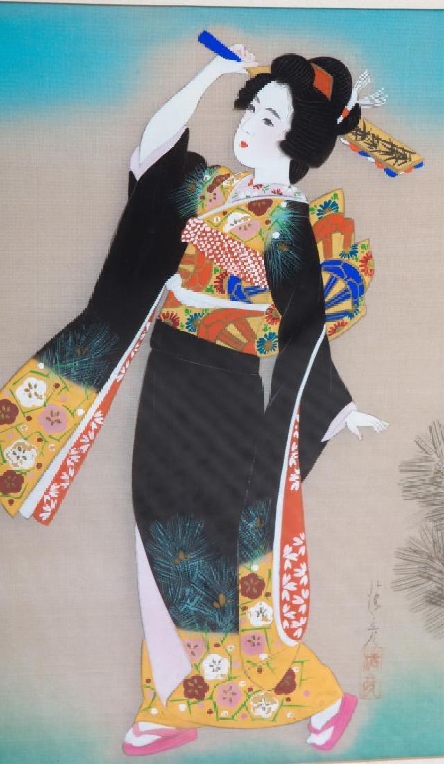 (2) JAPANESE GEISHA PAINTINGS ON SILK - 3