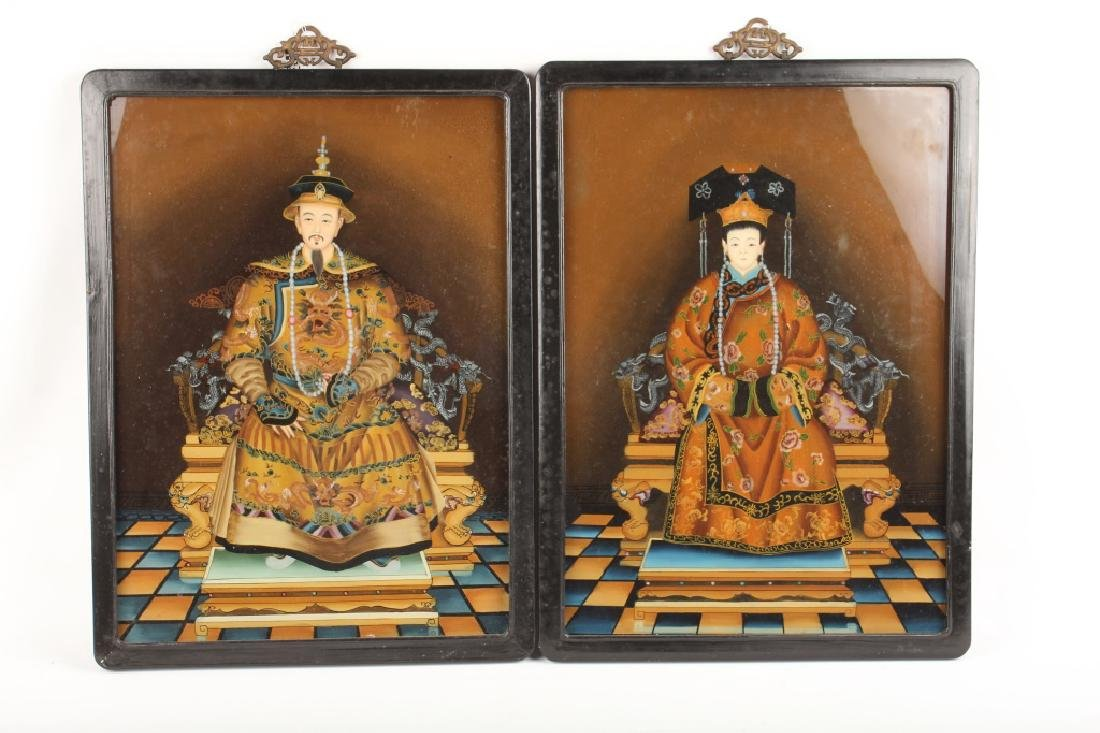 PAIR OF CHINESE REVERSE PAINTED WALL HANGINGS