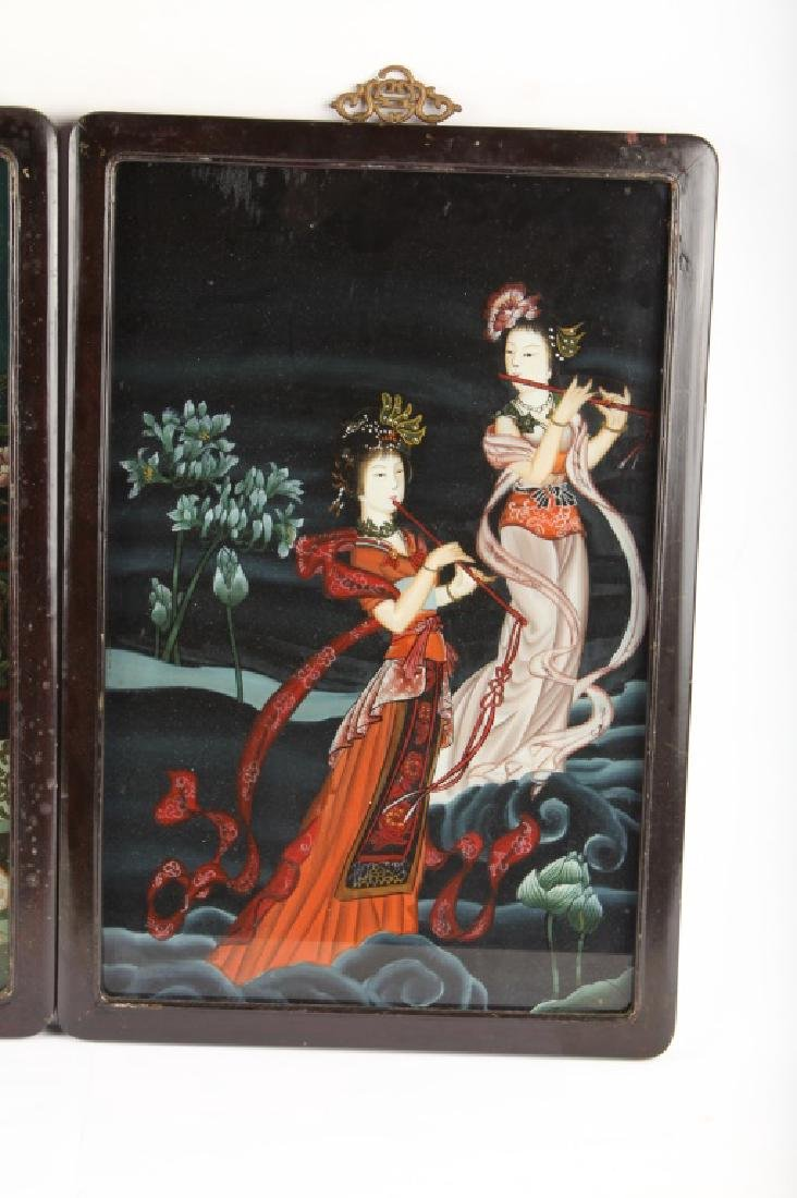 PAIR OF CHINESE REVERSE PAINTED WALL HANGINGS - 3
