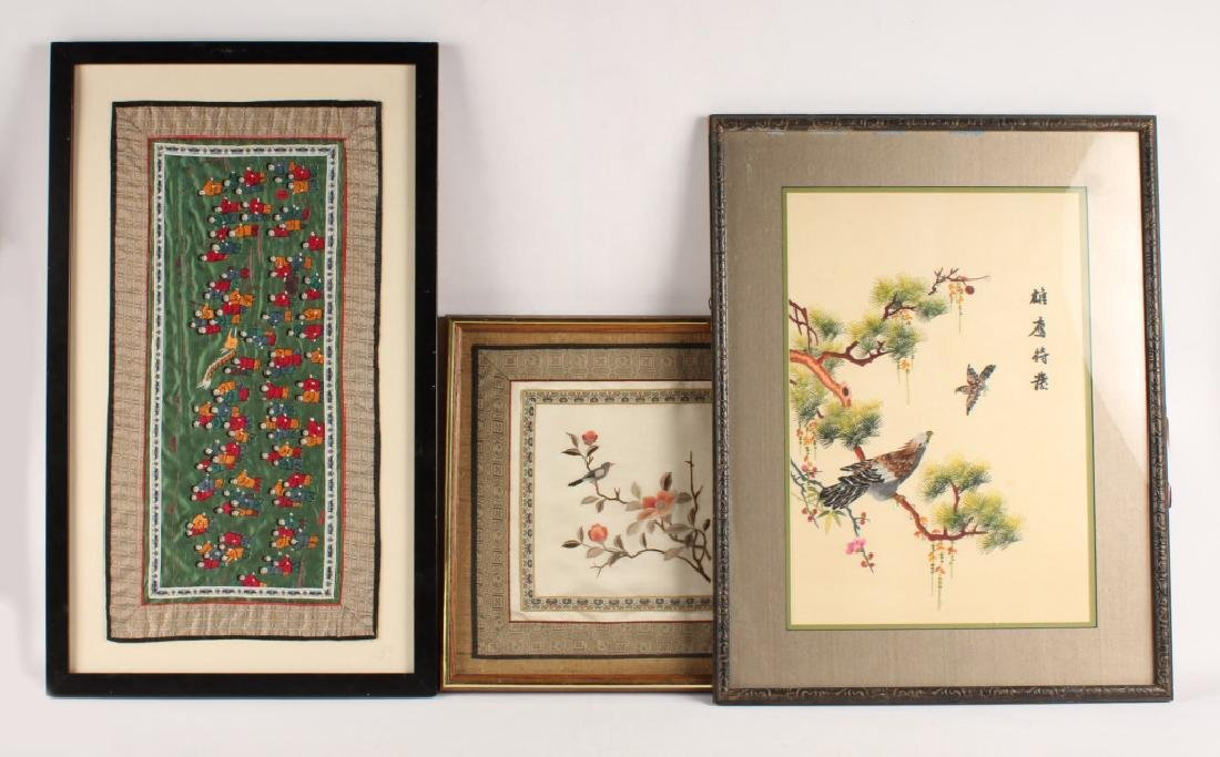 LOT OF 3 CHINESE EMBROIDERIES TO SILK