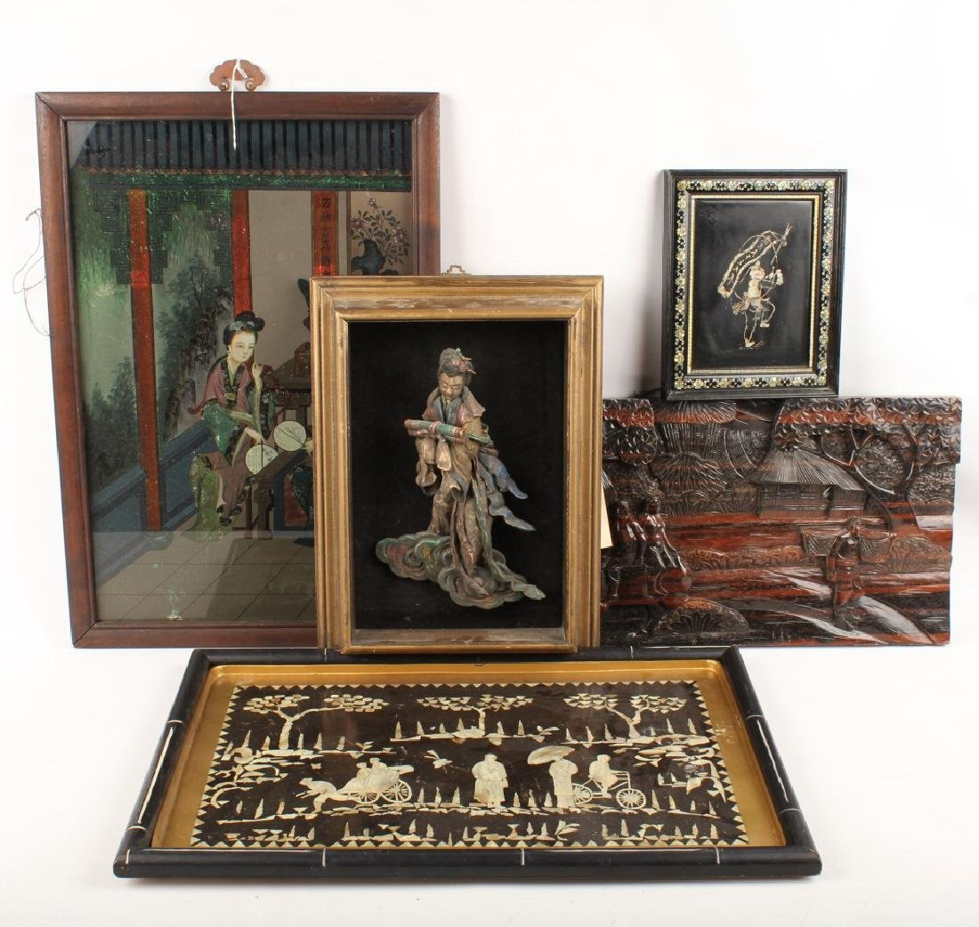 (5) PIECES OF MIXED CHINESE ARTWORK