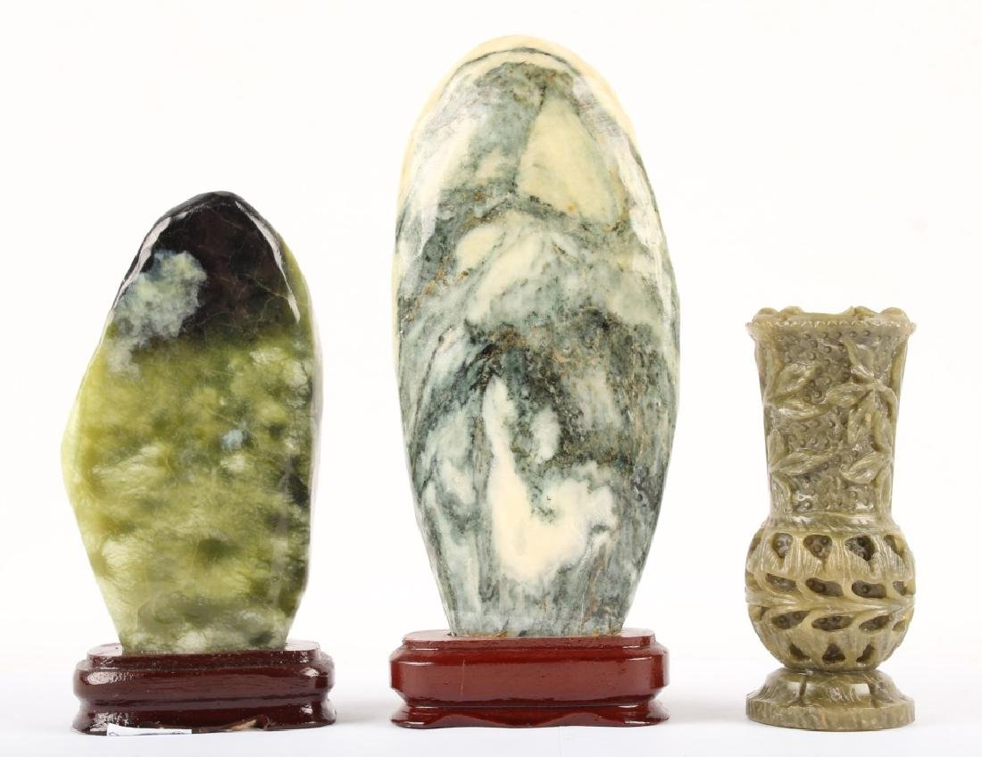 3 CARVED STONE DECORATIVE PIECES